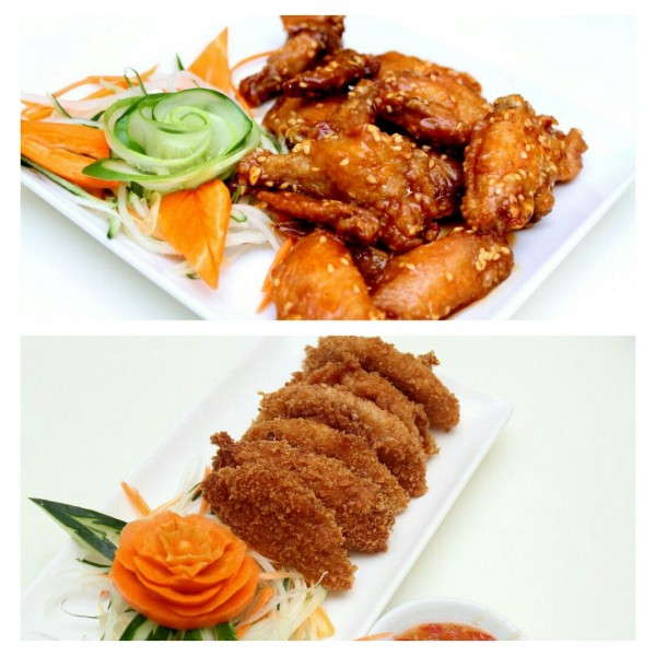 Spicy Glazed Chicken Wings and Thai Fish Cakes