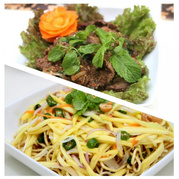 Spicy Thai Beef Salad and Crispy Noodles with Mango Salad