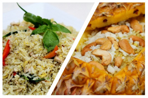 Green Curry Fried Rice with Chicken and Pineapple Fried Rice in Pineapple