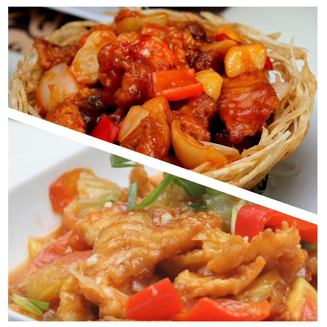 Seafood and Vegetables Medley in Taro Nest and Fried fish fillet in Sweet and Sour Sauce