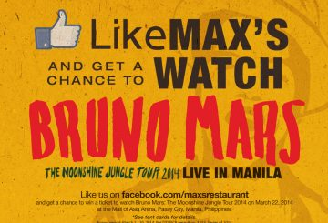 Watch Bruno Mars Live with Max's Restaurant