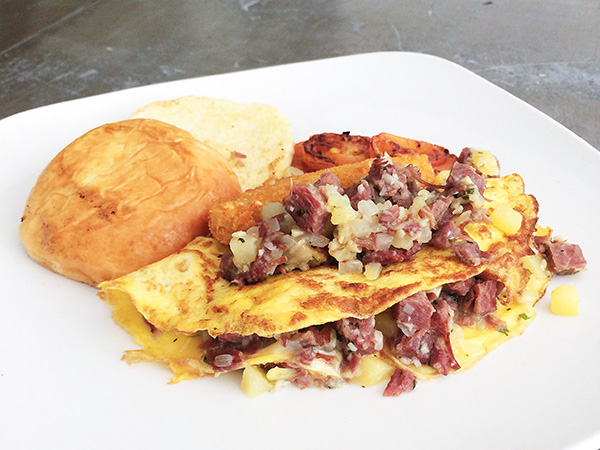 2 Egg Omelette filed with Fresh Corned Beef Hash & Cheese