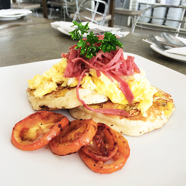 Banana Pancake with Grilled Ham, Camembert Cheese and Scrambled Eggs