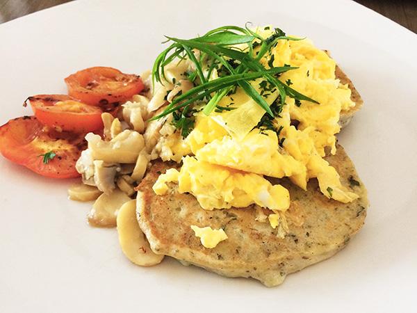 Fresh Herb Ricotta Hotcakes with Saute Mushrooms & Scrambled Eggs