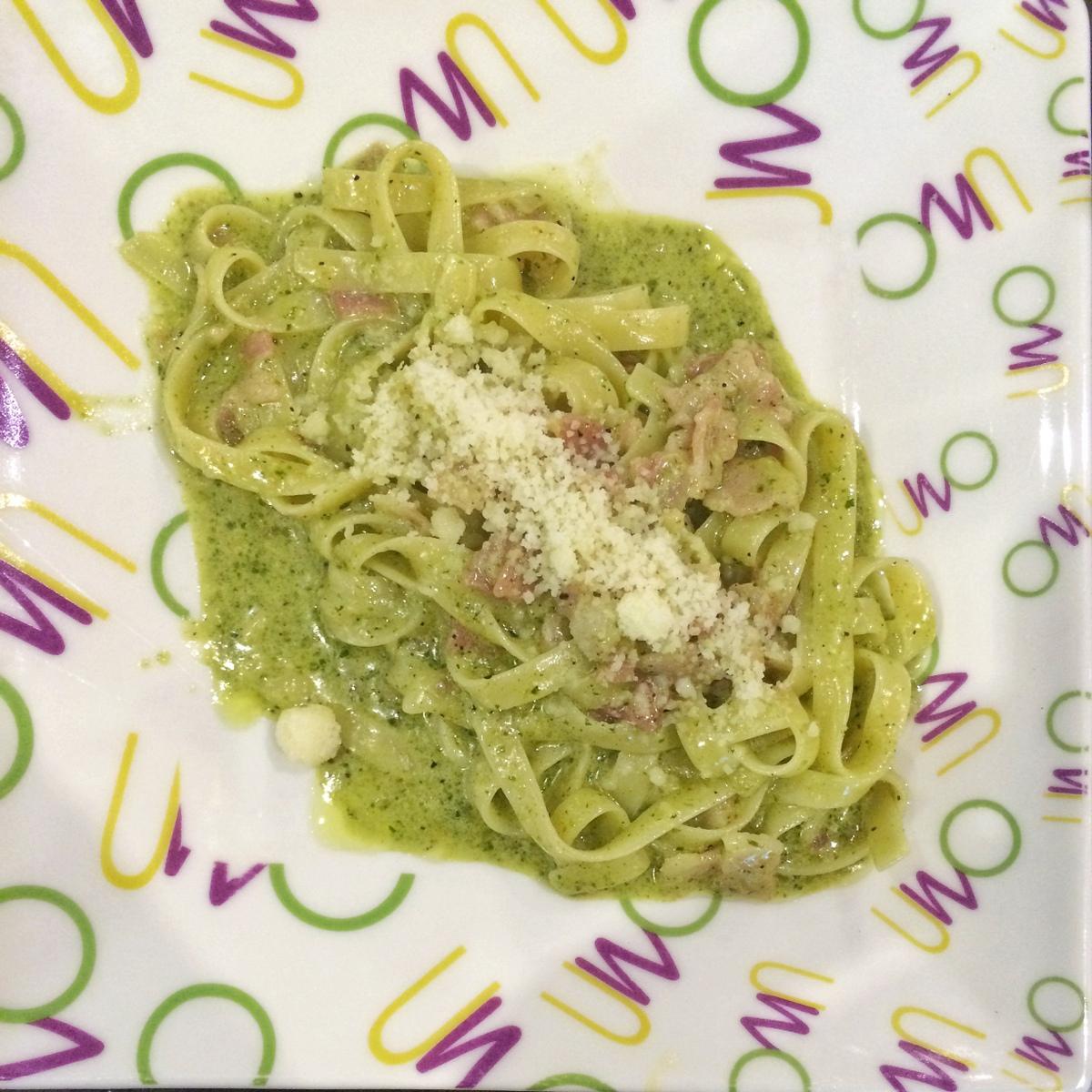 Uno: Creamed Pesto Fetuccini