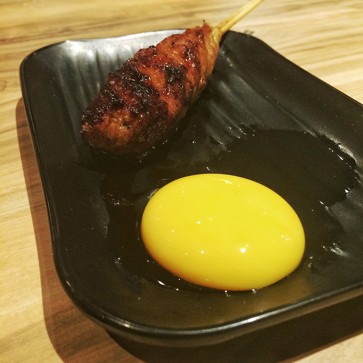 Yakitori Bincho-Tan: Tsukune with Poached Egg