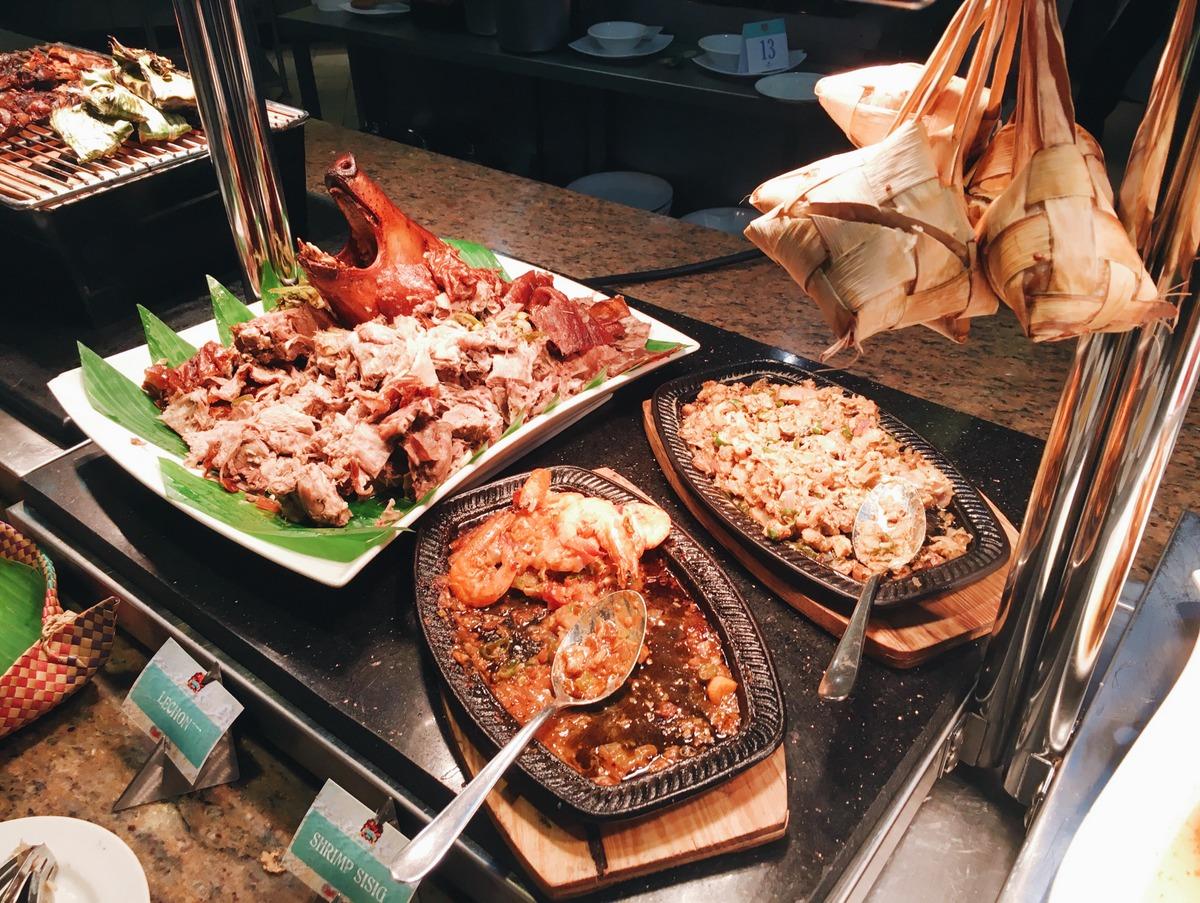 Lechon, Shrimp Sisig, Pork Sisig and Puso
